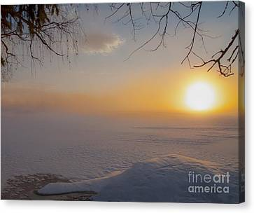Canvas Print featuring the photograph Comfortable Winter View by Rose-Maries Pictures