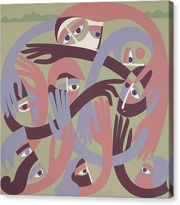 Comforters, 1983 Acrylic On Board Canvas Print by Ron Waddams