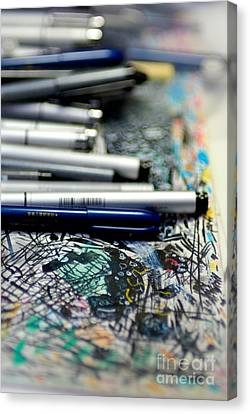 Comic Book Artists Workspace Study 1 Canvas Print by Amy Cicconi