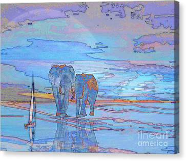 Canvas Print featuring the digital art Coming Home From Sea by Mojo Mendiola