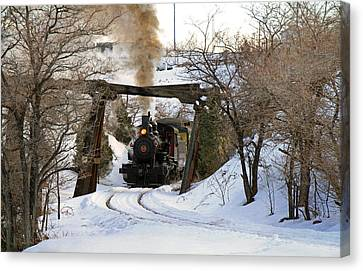 Coming Into The Train Depot Canvas Print by Donna Kennedy