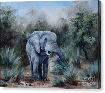 Canvas Print featuring the painting Coming Through by Brenda Thour
