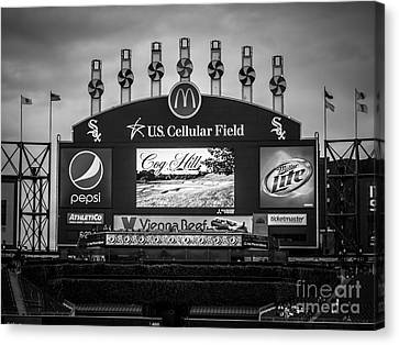 Comiskey Park U.s. Cellular Field Scoreboard In Chicago Canvas Print