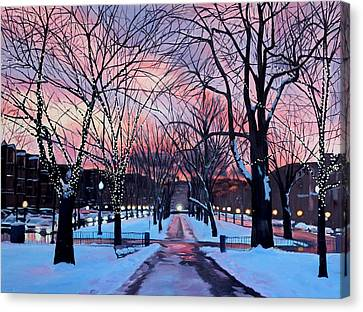Snowfall On Comm Ave Boston  Canvas Print by Sue Birkenshaw