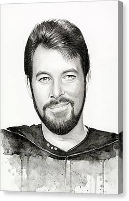 Commander William Riker Star Trek Canvas Print by Olga Shvartsur