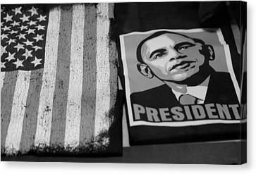 Commercialization Of The President Of The United States In Balck And White Canvas Print by Rob Hans