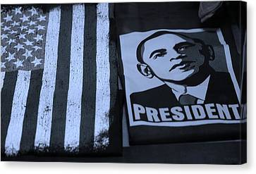 Commercialization Of The President Of The United States In Cyan Canvas Print by Rob Hans