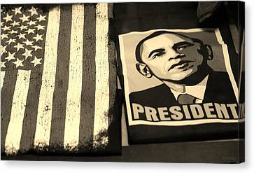 Commercialization Of The President Of The United States In Sepia Canvas Print by Rob Hans