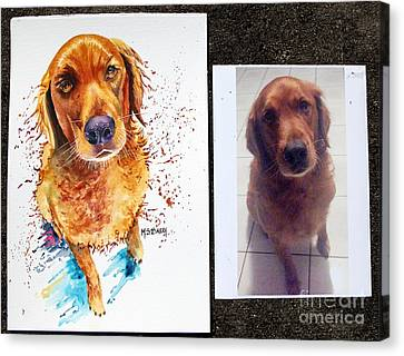 Canvas Print featuring the painting Commissioned Dog #1 by Maria Barry