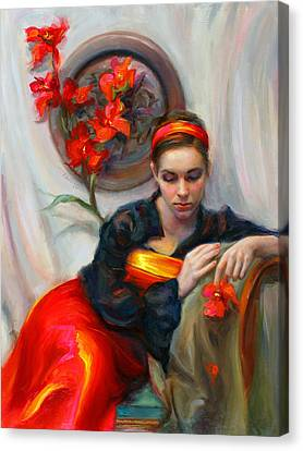 Common Threads - Divine Feminine In Silk Red Dress Canvas Print by Talya Johnson