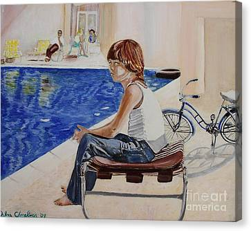 Community Pool Canvas Print by Debra Chmelina
