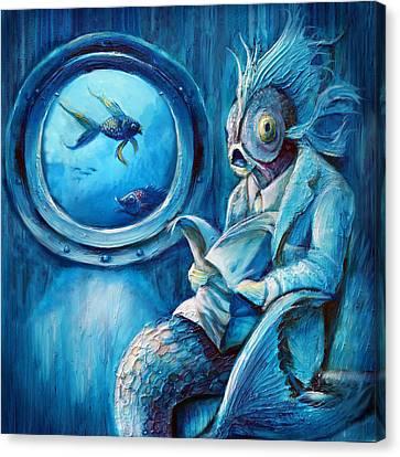 Commuter Fish Square Canvas Print
