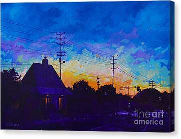 Canvas Print featuring the painting Commuter's Sunset by Michael Ciccotello