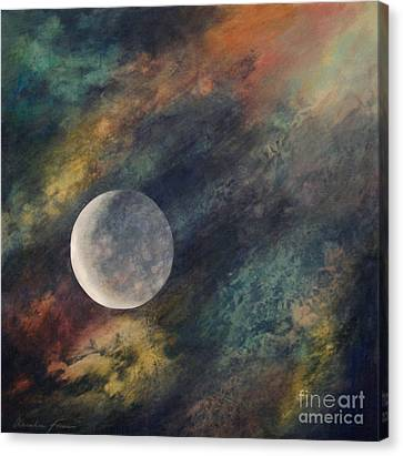 Canvas Print featuring the painting Companion Moon  by Ursula Freer