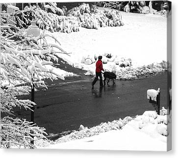 Companions Walking On Christmas Morning Canvas Print by Sandi OReilly