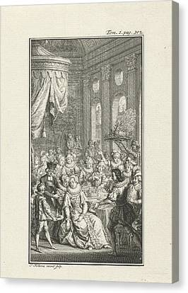 Company At A Banquet, Jacob Folkema Canvas Print