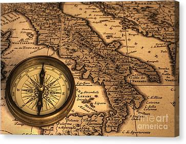 Compass And Ancient Map Of Italy Canvas Print