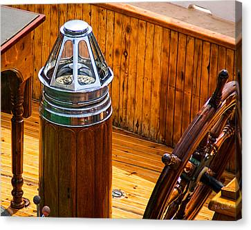Compass And Bright Work Old Sailboat Canvas Print by Bob Orsillo