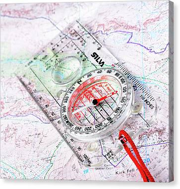 Compass And Map Canvas Print