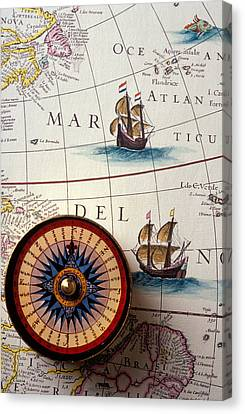Compass And Old Map With Ships Canvas Print by Garry Gay