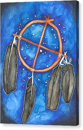 Compass Dreamcatcher Canvas Print by Cat Athena Louise