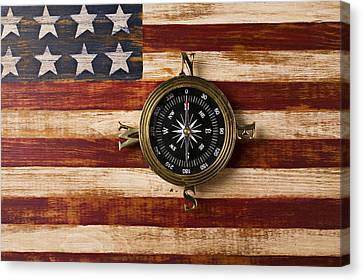 Compass On Wooden Folk Art Flag Canvas Print by Garry Gay