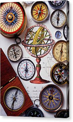 Compasses And Globe Illustration Canvas Print by Garry Gay