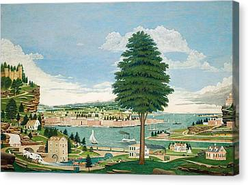 Port Town Canvas Print - Composite Harbor Scene With Castle by Jurgen Frederick Huge