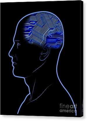 Computer In Head Canvas Print