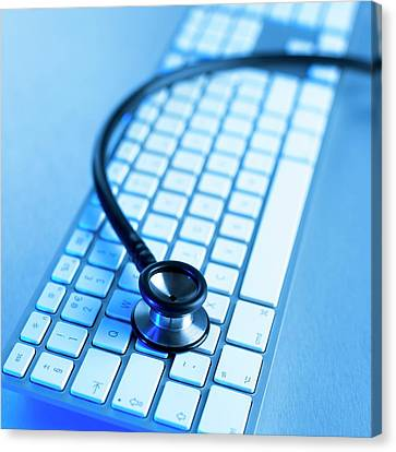 Computer Keyboard And Stethoscope Canvas Print