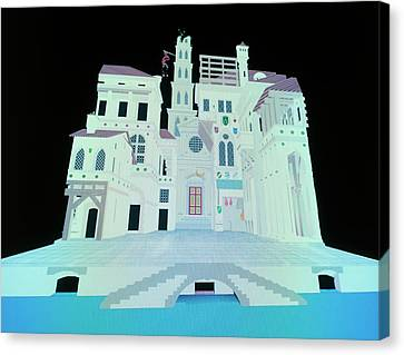 Computer Model Of Ancient Theatre Canvas Print by Vaughan Hart