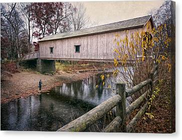 Comstock Covered Bridge Canvas Print by Joan Carroll