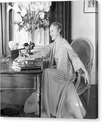 Comtesse Jean De Polignac At Her Desk Canvas Print by Horst P. Horst
