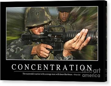Concentration Inspirational Quote Canvas Print by Stocktrek Images