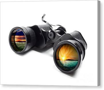 Observer Canvas Print - Conceptual Binoculars by Sinisa Botas