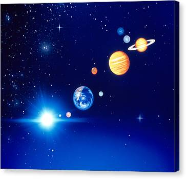 Conceptualized Solar System With Planets Canvas Print by Panoramic Images