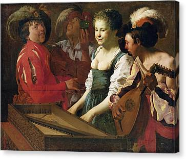 Lute Canvas Print - Concert, 1626 Oil On Canvas by Hendrick Ter Brugghen