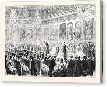 Concert In The Salle Des Marechaux At The Tuileries Paris Canvas Print by French School