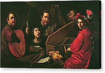 Concert With Musicians And Singers, C.1625 Oil On Canvas Canvas Print by Pietro Paolini