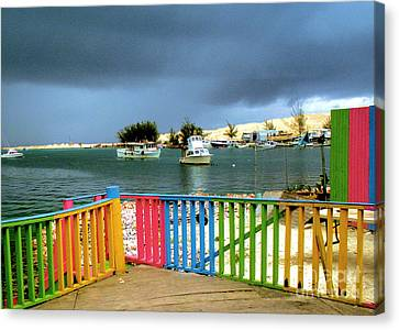 Chowder House Canvas Print - Conch Boats Arriving by Luther Fine Art