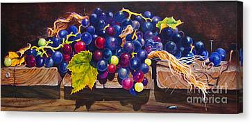 Concord Grapes Canvas Print - Concord Grapes On A Step by Sarah Luginbill