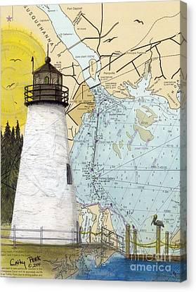 Concord Pt Lighthouse Md Nautical Chart Map Art Cathy Peek Canvas Print by Cathy Peek