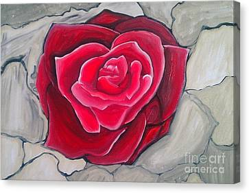 Canvas Print featuring the painting Concrete Rose by Marisela Mungia