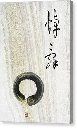 Canvas Print featuring the mixed media Condolences Tooji With Enso Zencircle by Peter v Quenter