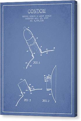 Condom Patent From 1989 - Light Blue Canvas Print