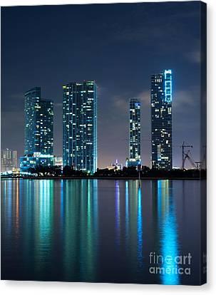 Condominium Buildings In Miami Canvas Print by Carsten Reisinger
