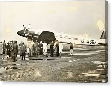 Condor Aircraft Before Take-off Canvas Print by Eye On The Reich: German Propaganda Photographs/new York Public Library
