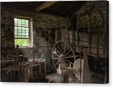 Canvas Print featuring the photograph Conestoga Wagon At The Blacksmith - Wagon Repair by Gary Heller