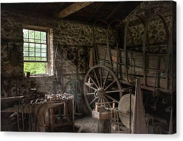 Conestoga Wagon At The Blacksmith - Wagon Repair Canvas Print