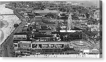 Coney Island - Wide Aerial View Canvas Print by MMG Archives